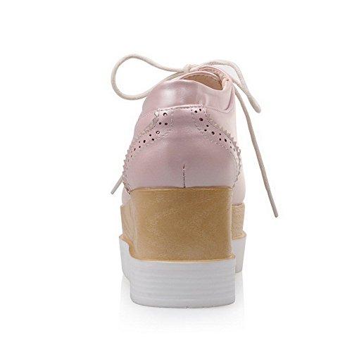 VogueZone009 Donna Allacciare Scarpe A Punta Punta Chiusa Tacco Medio Luccichio Puro Ballerine Rosa