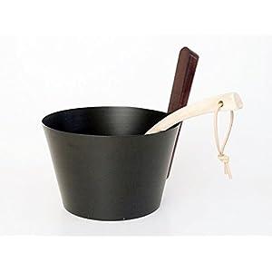 SudoreWell® Saunakübel 5,0 l aus ALU (schwarz) mit Holzgriff plus Schöpfkelle