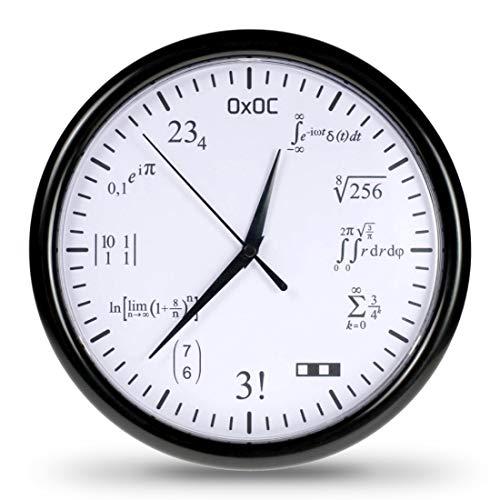 getDigital Orologio Matematico - Orologio da Parete in Codice con Equazioni Matematiche - Elegante Design Bianco 24,5 cm