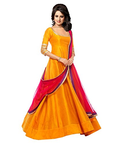Haresh Khatri Yellow Banglory silk Anarkali Gown Semi-Stitched Suit
