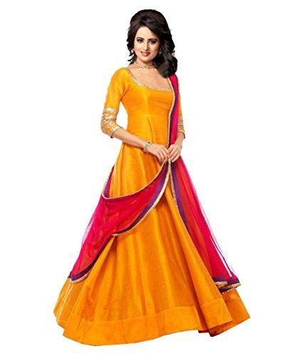Haresh Khatri Yellow Banglory silk Anarkali Gown Semi-Stitched Suit