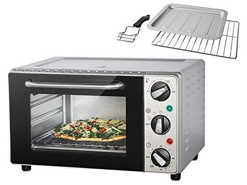 Silvercrest Mini Backofen 15L - 1300W | Pizzaofen Minibackofen SGB 1200 Doppelglastür Grillofen Tischbackofen Grillen (Silber) -