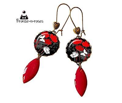 boucles d'oreille cabochon coquelicots rouges et papillons bronze gouttes fleurs