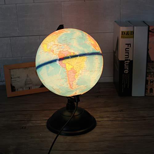 Faway 8 Inch 110V LED World Map Globe Night Light Home Office Room Desktop Decor Lamp Kids Gift