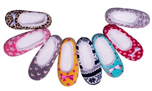 TWINS Fashion « Marseille » schöne & süße Damen-Hausschuhe I Ballerinas I Pantoffeln I Slippers - Plüsch I Fleece I rutschfest - diverse Farben (36/37, Leopard)
