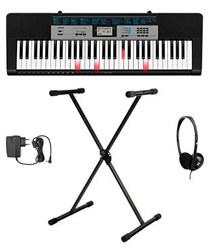 Casio LK-136 Leuchttasten Keyboard Set (kompaktes Keyboard mit 61 Leuchttasten, Begleitautomatik & 120 Klangfarben inkl. X-Keyboardständer, Kopfhörer & Netzteil) Schwarz
