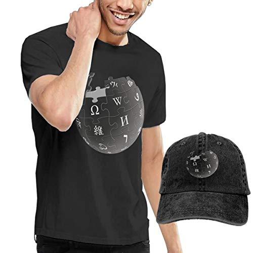Herren T-Shirt und Hüte Mode Coole Basic Kurzarm Shrink-Less Leichtes Rundhals-T-Shirt Baumwolle T-Shirts Regelmäßig Groß und Hoch Wiki Schwarz