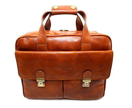 Tasche aus Echtem Leder, Gegerbt Natur, Barletta, Made in Italy, Leder CREEO Leder Leder