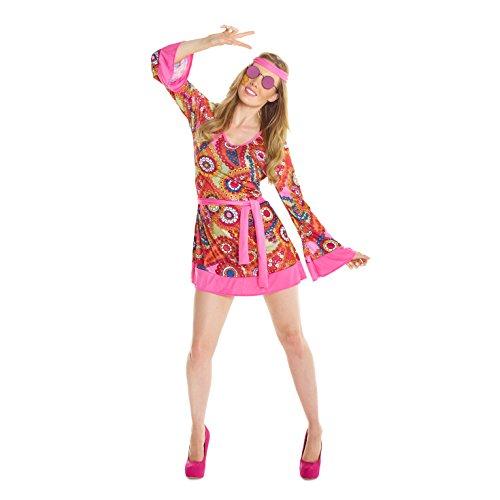 Morph Damen Hippie Kleid Kostüm 60er Jahre Frieden Und Liebe Kleidung Für Halloween Und Karneval - Groß