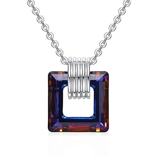 Damen Halskette,Original Fashion Design S 925 Sterling Silber Verziert Purple Crystal Square Anhänger Mit Halskette Wunderschöne Retro Schmuck Halskette Geliebten Geschenk -