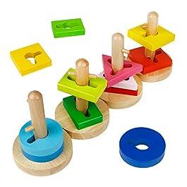 Forme Geometriche Puzzle Legno Creativo Colori Blocchi Costruzione Mattoni Multicolore per Bambini 18 Mesi +