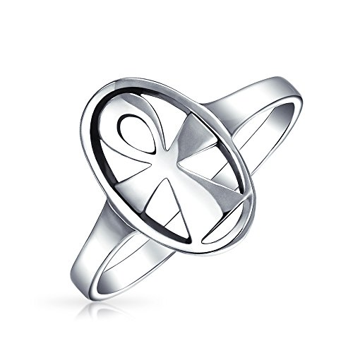 Ewige Schlüssel Des Lebens Religiösen Ovale Siegel Ägyptische Ankh Kreuz Ringe Für Damen Für Herren 925 Sterling Silber