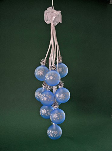"""Glaskugelgehänge Kugelgehänge Glas Leuchter """"Kristall"""" hellblau 10flammig beleuchtet ca. 65 cm lang Weihnachten Advent Geschenk Dekoration (41045)"""
