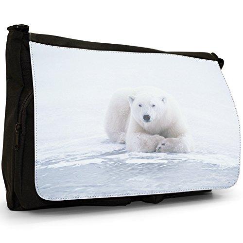Orsi polari–Borsa Tracolla Tela Nera Grande Scuola/Borsa Per Laptop Polar Bear Lying On Ice