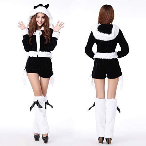 shuhong Damen-Weihnachtsmann-Kostüm Für Damen, Damenmantel, Shorts, Beinsätze, Einheitsgröße, Büste 36 Zoll, Taille 29 Zoll,Black -