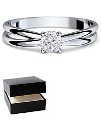 Verlobungsringe Weißgold Ring 333 *** GRATIS LUXUSETUI *** Weißgold Ring 333er von AMOONIC mit SWAROVSKI Zirkonia Stein Weißgoldring wie Verlobungsring Diamant Ring Diamantring Gold FF386WG333ZIFA