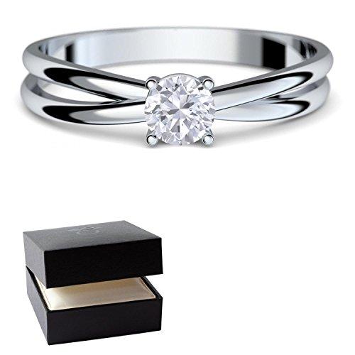 Verlobungsringe Weißgold Ring 333 *** GRATIS LUXUSETUI *** Weißgold Ring 333er von AMOONIC mit SWAROVSKI Zirkonia Stein Weißgoldring wie Verlobungsring Diamant Ring Diamantring Gold FF386WG333ZIFA52