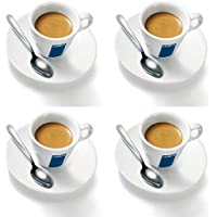 4 x Lavazza Espresso Cups and Saucers with Spoons