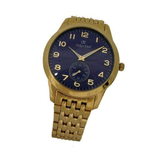 Oskar Emil Basel Gold Blue Classic Gents Watch with Gold IP Plated Stainless Steel Case and Strap