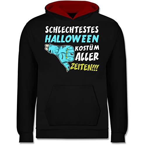 Shirtracer Anlässe Kinder - Schlechtestes Halloween Kostüm Aller Zeiten - 12-13 Jahre (152) - Schwarz/Rot - JH003K - Kinder Kontrast Hoodie (Schlechte Halloween-kostüme 2019)
