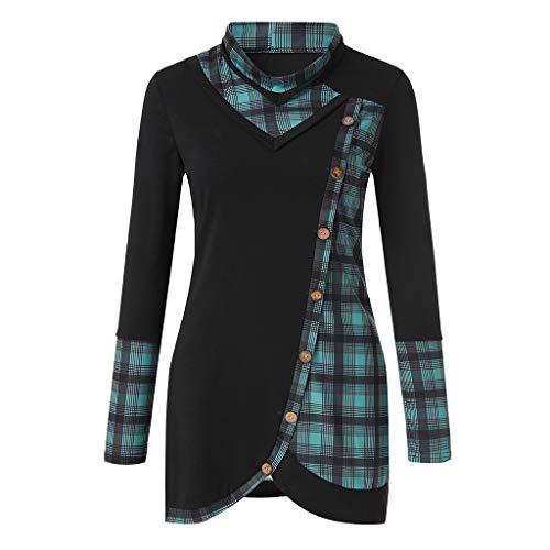 TEBAISE Bluse Damen Langarm Shirt Herbst Pullover Lose Oversize Rundhals Langshirt Hemd Oberteil Tops Pullover Damen Pulli ()