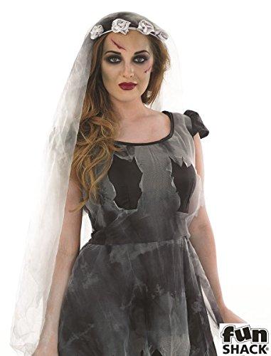 Damen Kurz Schwarz Corpse Bride Kostüm für Halloween LIVING DEAD Fancy Kleid in: M Medium UK 12–14UK 12–14