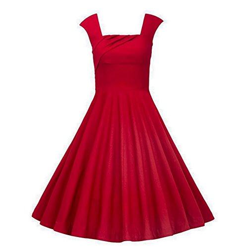 Dissa Damen 50er Retro Cocktail Vintage Rockabilly Kleid,Rot 1235-Rot