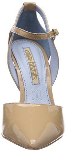 Buffalo London - 726x-090 Patent, Scarpe col tacco con cinturino a T Donna Beige (Beige (FORGET ME NOT 01))
