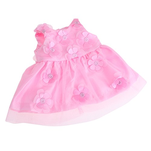 e Puppenkleider Prinzessin Einteiliges Kleid mit Blumen Party Bekleidung für 43-45 cm Zapf Baby Born Puppe - Rosa (Baby Doll Kostüm Rosa)