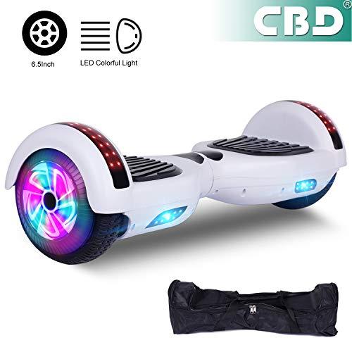 CBD 2 Wheels 6,5-Zoll-Hoverboards für Kinder und Erwachsene, mit Bluetooth and Colorful LED Elektroroller, kostenloser Tragetasche und europäischem Stecker sind im Lieferumfang enthalten (weiß)