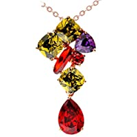 KnSam Donne Placcato in Oro Per la Collana Nobile Forma a Goccia Rolo Colorato Cristallo Zirconia Cubica [Novità
