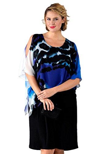 Yoek Damen Übergrößen Kleid mit Druck Mehrfarbig