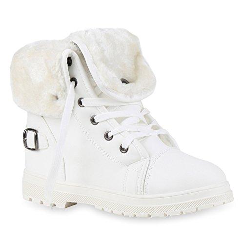 Stiefelparadies Damen Worker Boots Warm gefüttert mit Blockabsatz Schuhe 127190 Weiss Brito 39 Flandell