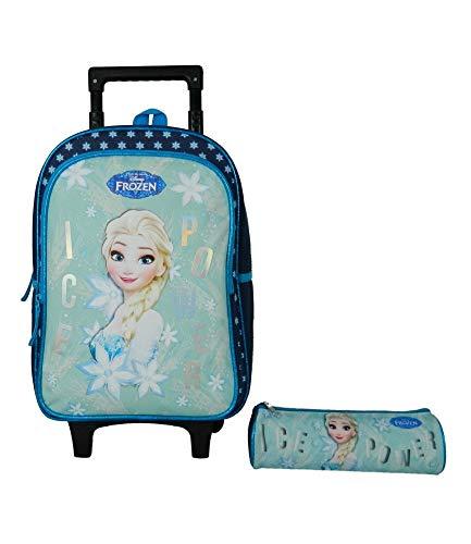 LI Queen of Snow/Frozen Rucksack Trolley mit Federtasche, Größe 32 x 15 x 42 cm, Marineblau ()