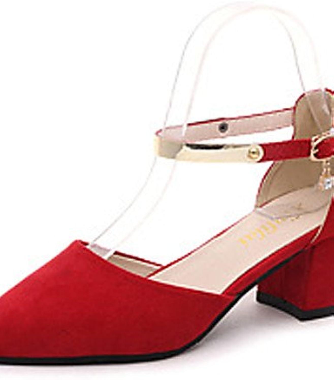 ZQ zapatos de las mujeres del ante de la oficina de primavera / en punta del dedo del pie / zapatos de tac¨®n...