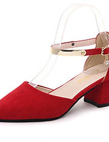 WSS 2016 chaussures pour femmes en daim bureau printemps / automne bout pointu / talons bout fermé&carrière / partie&soirée gros talon gray-us6.5-7 / eu37 / uk4.5-5 / cn37