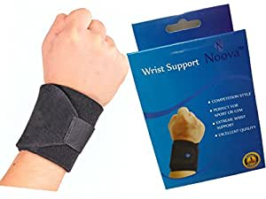 Noova Wrist Wrap Support with Adjustable Velcro Strap, Black (1 Piece)