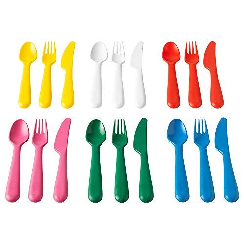 Ikea IKE-804.213.32 KALAS Besteck, Polypropylene, Mehrfarbig, 18 x 14 x 3 cm, 18-Einheiten, - Kunststoff-löffel-gabel-messer-set