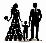 Moderne Dekofigur Skulptur Hochzeitspaar mit Kind aus Metall schwarz Höhe 19 cm Breite 19 cm