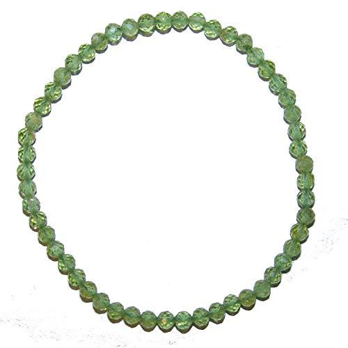 Peridot/Olivin 4 mm facettiertes zartes Kugel Armband auf elastischem Band aufgezogen ca. 19-20 cm