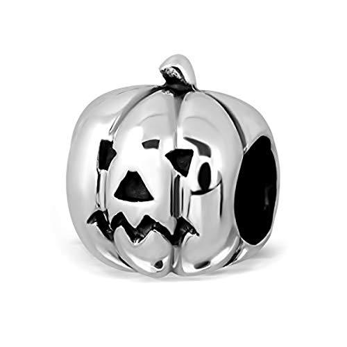 Sistakno Charm-Anhänger aus 925 Sterlingsilber, 3D-Halloween-Design, gebogener Kürbis-Anhänger mit lächelndem Gesicht und neutralem Gesicht (2 Seiten) (Troll Halloween Gesicht)