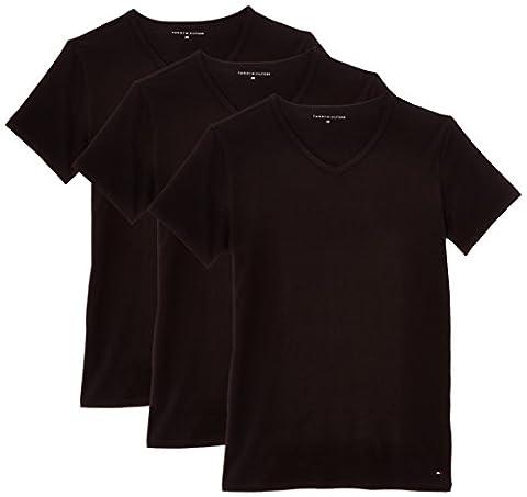 Tommy Hilfiger Herren Unterhemd Stretch V neck premium ess, 3er Pack, Einfarbig, Gr. Large, Schwarz (BLACK 990)
