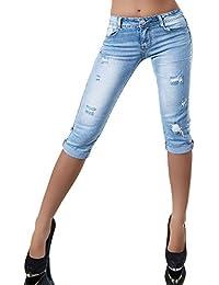 N802 Damen Capri Jeans Hose Shorts Damenjeans Caprijeans Bermuda Normaler Bund