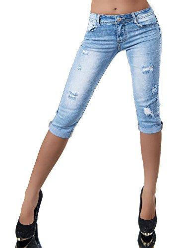 N802 Damen Capri Jeans Hose Shorts Damenjeans Caprijeans Bermuda Normaler Bund, Farben:Blau;Größen:38 (M)