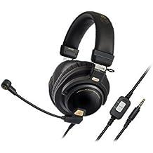 Audio-Technica ATH-PG1 - Auriculares cerrados de alta fidelidad para videojuegos con micrófono, color negro y oro