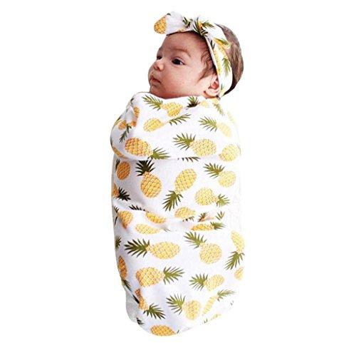 Covermason Schlafsack Newborn Baby Sleeping Decke Swaddle Wrap + Stirnband Für 0 ~ 12 Monate (Gelb)
