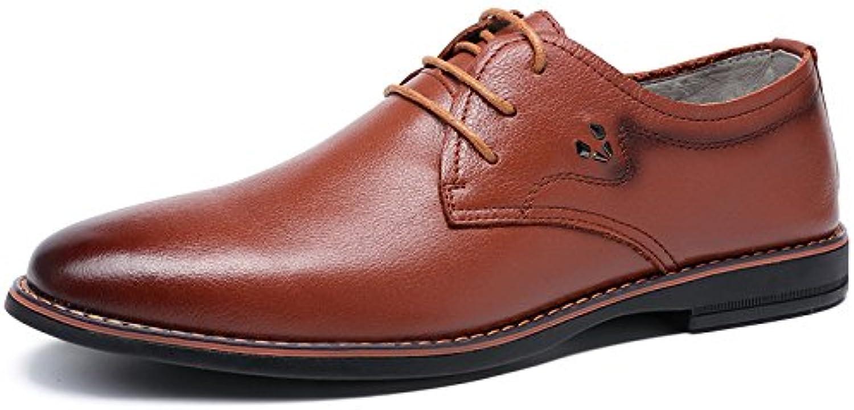 MHSXN Mann Freizeit Formales Leder Beschuht Arbeitsplatz Spitze Schuh Mannschwarz Brown Runder Kopf Leder Schuhe