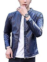 DianShaoA Uomo Giacca in Pelle Vintage Sguardo Piega Retro Casual Slim Top  Sportiva Coat Outwear d34648177ee