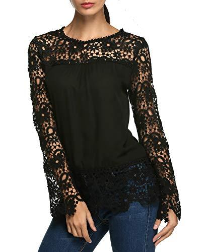 bcda845808ed Parabler Damen Langarmshirt Spitzenshirt T-Shirt mit Spitze Top Bluse Shirt  Tunika Hemd (EU 44(Herstellergröße XXL), Y Schwarz)