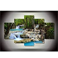 sxkdyax(No frame 5 panel living room home decor Wall Art Picture printed Waterfall Green Lake landscape oil Painting on Canvas art prints